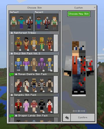 choosing the new skin in minecraft