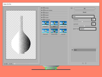 adjusting the settings of the grain effect