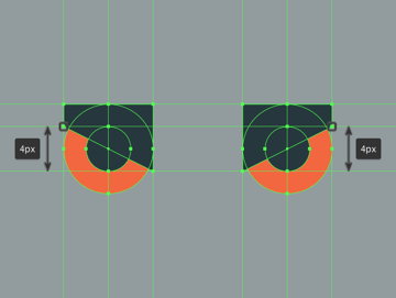 adjusting the expression of the center eyes