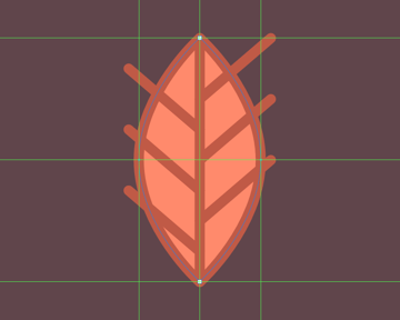 adding the outline to the center leaf