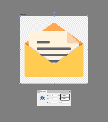 creating the larger size variation using the transform panel