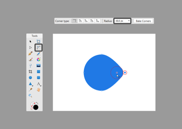 corner tool adjustment using the click-and-drag method