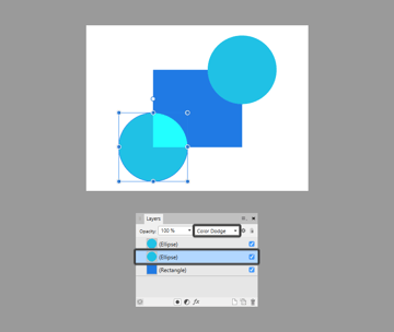 example of using a blend mode on a shape