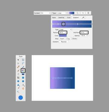 example of using the gradient control panel
