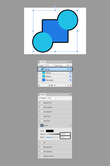 using the same effect on shapes that are grouped