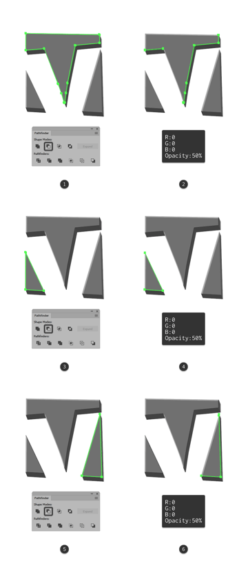 adding the shadows to the letter v