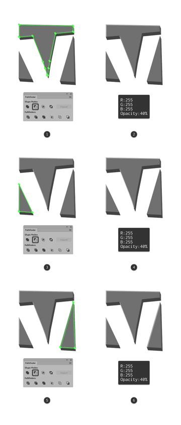 adding the highlights to the letter v