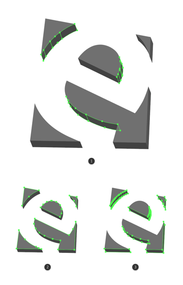 making the shape adjustments for the letter e