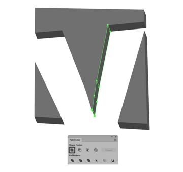 uniting the smaller darker shapes for the first letter