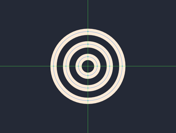 creating the main shapes for the inner section of the smaller decorative circle