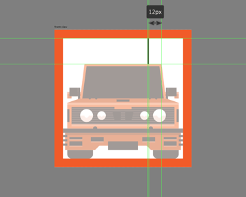 finishing off the front view car icon