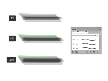 example of different bristle brush thickness