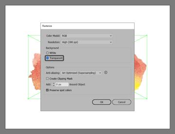 example of rasterizing the image within illustrator