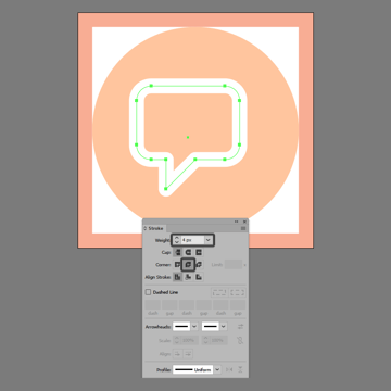 turning the chat symbol into an outline