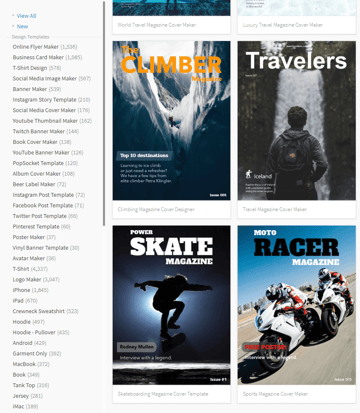 example of available magazine cover templates