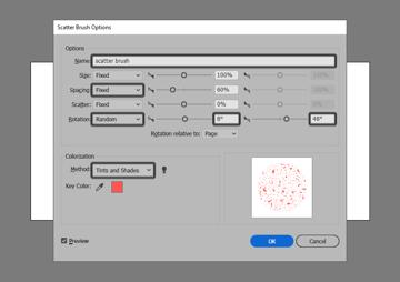 adjusting the scatter brush settings