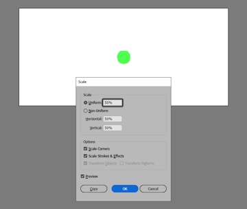 resizing the resulting trace for the circle