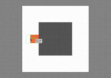 example of positioning a shape using the click and drag method inside of the pixel preview mode