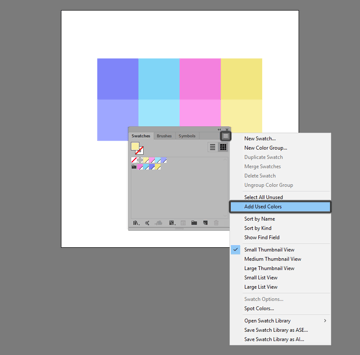 example of creating new swatches using the add used colors option