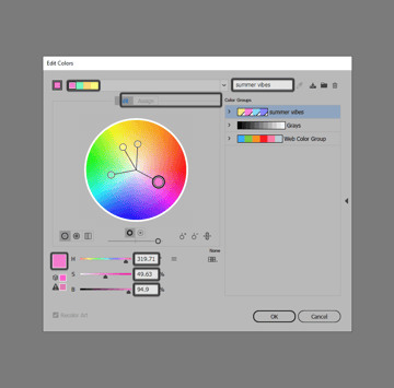 example of editing a color group