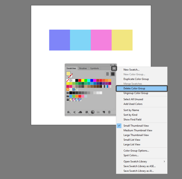 how to delete a color group