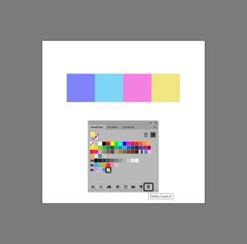 example of removing a swatch from an existing color group