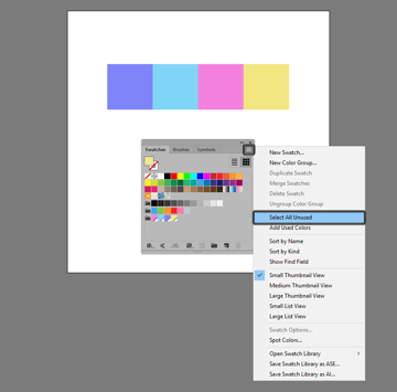 example of selecting all unused swatches