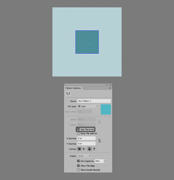 example of using the size tile to art option