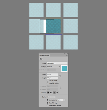 example of using the pattern options panel