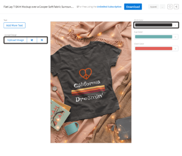 example of using a custom t-shirt mockup