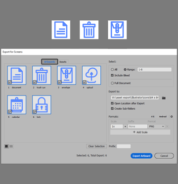 example of exporting the icons in illustrator