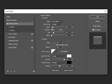 example of bevel and emboss settings