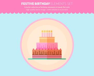 Festive Birthday Elements Flat Set