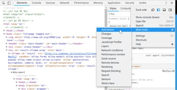 Animations menu item in Chrome Dev Tools