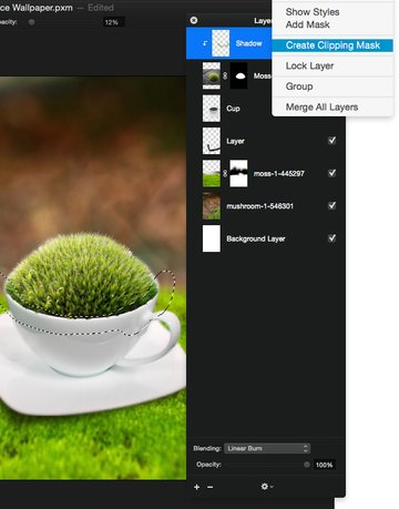 Paint shadows on the ball of moss on a clipping mask