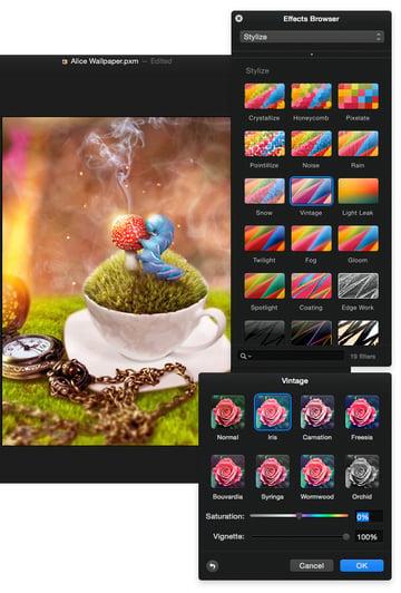 Apply a vintage colour effect