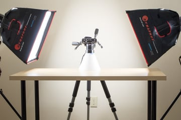 Lighting with a pair of studio lights