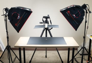 Copy board lighting setup for macro photography with a shoot through flag in place