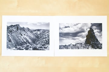 Two images paired for a page spread