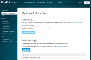 PayPal Developer App Dashboard