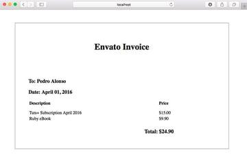 Invoice view