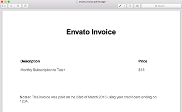 An example of an Envato invoice PDF
