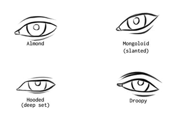 different eye shapes almond mongoloid hooded droopy