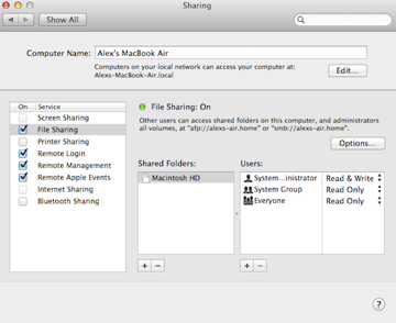 Enable file and screen sharing