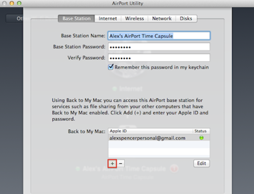 Adding iCloud credentials to your Time Capsule