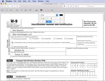 Fully filled out form using text annotations