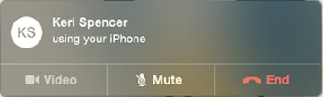 Making a call on the Mac using Continuity Mode