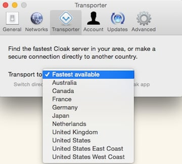 Connecting to the Internet via another country using Cloak VPN