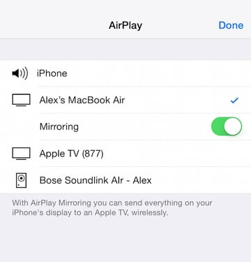 Turning on AirPlay Mirroring on an iOS device