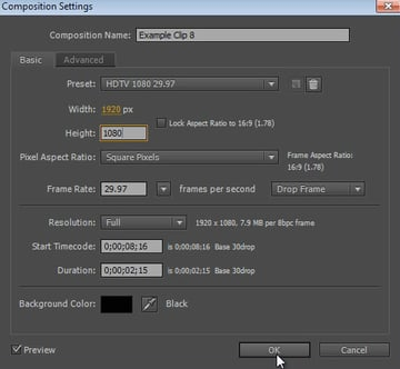 Composition settings